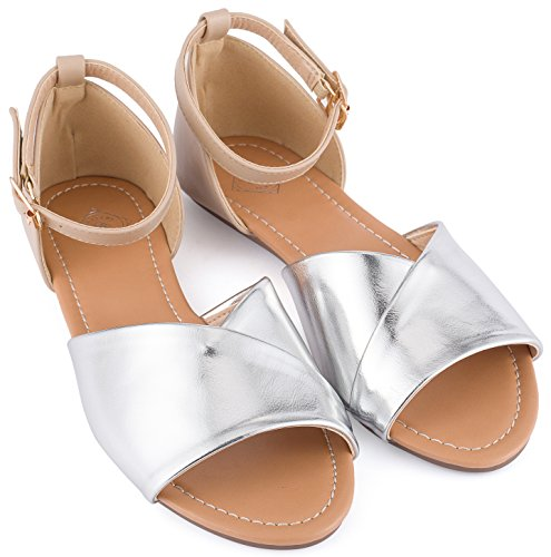 46f3f728f DREAM PAIRS Women's Weitz Nude Ankle Strap Rhinestones Low Wedge Sandals -  8.5 M US · Gallery Seven Open Toe Flats Shoes ...