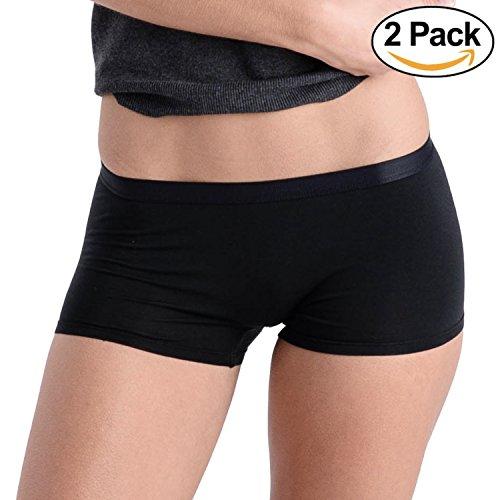 d140b3f16003 Comfortable Club Women's Modal Microfiber Boyshorts Panties Underwear  2-Pack (Jet Black, XL) ...