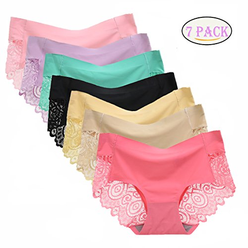 f014d4d47dbc lingirl 7 Pack Women's Invisible Soft Underwear Middle-Waisted Sexy Cotton  Healthy Panties (7pack-b, x-Large) ...